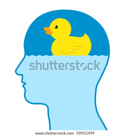Male human thinking of a toy rubber duck - vector - stock vector