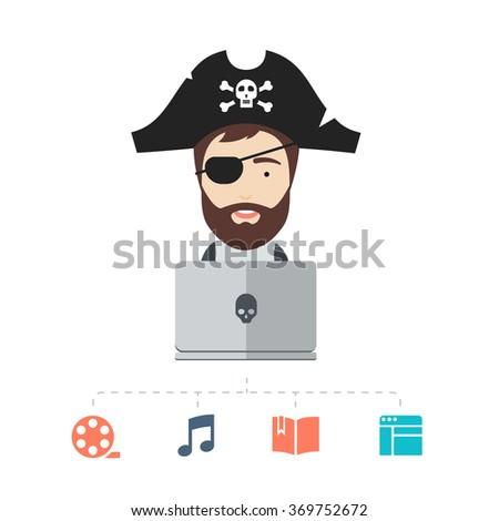 Male Internet Pirate - stock vector