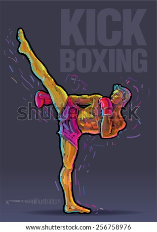Male kickboxer doing a side kick. Vector artwork in the style of paint strokes - stock vector