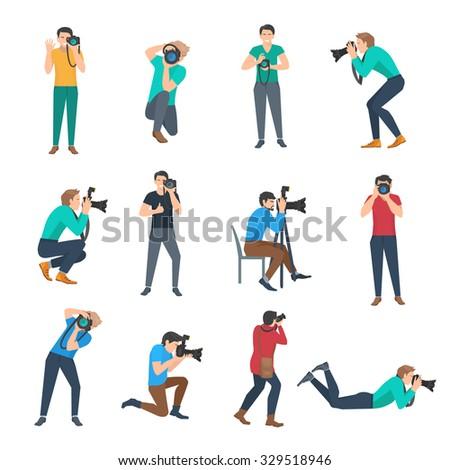 Male photographer full lenght avatars set flat isolated vector illustration - stock vector