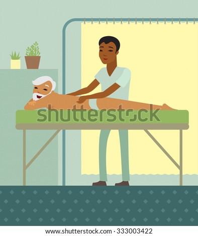Male physiotherapist massaging a senior back in the medical centre - stock vector
