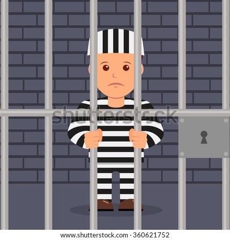 Male prisoner in cartoon style - stock vector