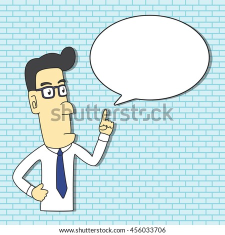 Male Professional Instructor Cartoon Character Design with Speech Bubble for insert Text