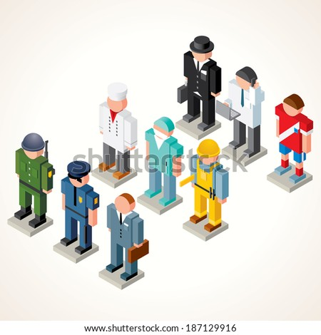 Male Professional People. Vector Icons. Set of Isometric Figures of Broker, Chef Cook, Athlete, Policeman, Soldier, Businessman, Engineer, Dentists and Clerk. - stock vector