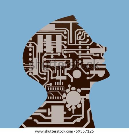 Male profile computer circuit board - stock vector