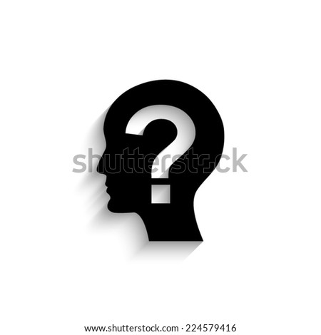 Male profile silhouette with question mark on the head - black vector icon with shadow