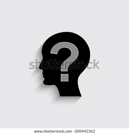 Male profile silhouette with question mark on the head on a grey background