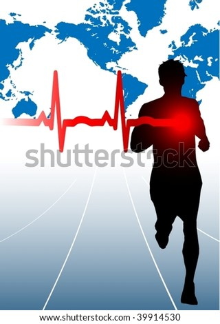 Male runner with EKG - stock vector