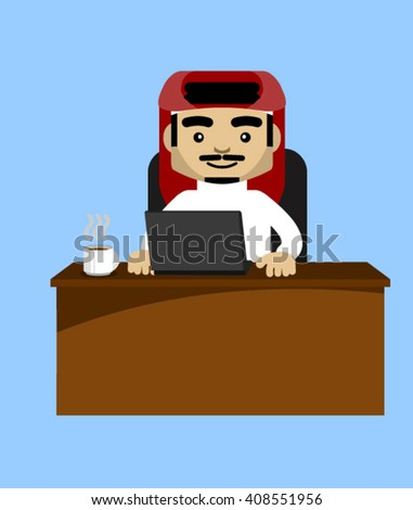 male saudi character sitting on a desk.