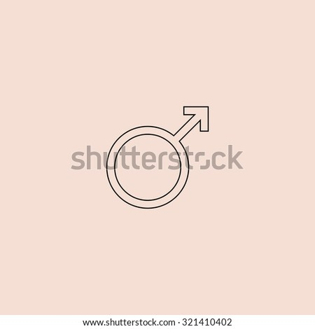 Male sex icon. Outline vector icon. Simple flat pictogram on pink background