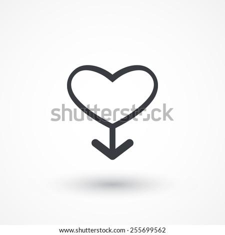 Male sign icon. Male sex heart button. Vector illustration flat design - stock vector