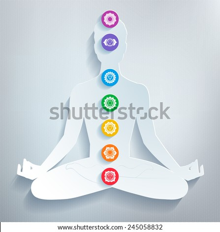 Male silhouette. Meditation and chakras. Vector illustration. - stock vector