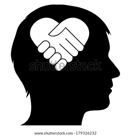 Male silhouette with heart handshake - stock vector
