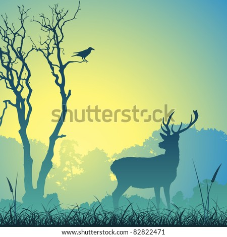 Male Stag Deer on a Meadow with Trees and Bird - stock vector