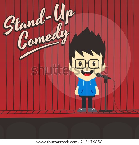 male stand up comedian cartoon character - stock vector