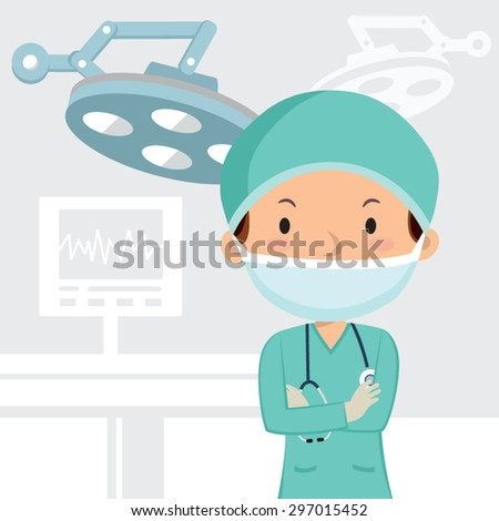 Male surgeon in the operation theater. Surgeon in scrubs with folded arms in the operation theater. - stock vector