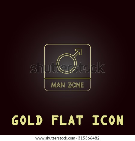 Male symbol, man. Outline gold flat pictogram on dark background with simple text.Vector Illustration trend icon