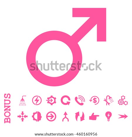 Male Symbol vector icon. Image style is a flat iconic symbol, pink color, white background.