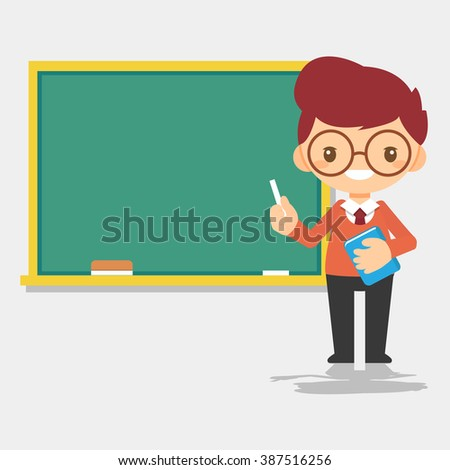 male teacher character in front of blackboard