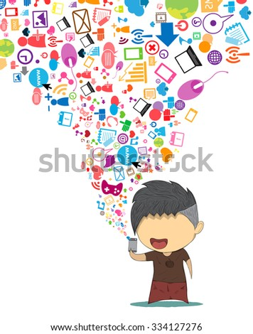 Male teens playing with phone happy template design thinking idea with social network icons background. - stock vector