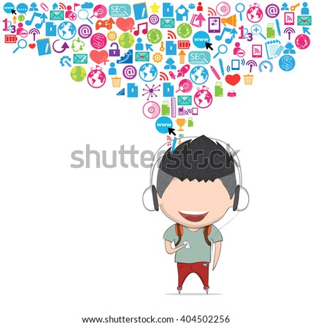 Male teens playing with phone happy template design thinking idea with social network icons background. Drawing by hand vector - stock vector