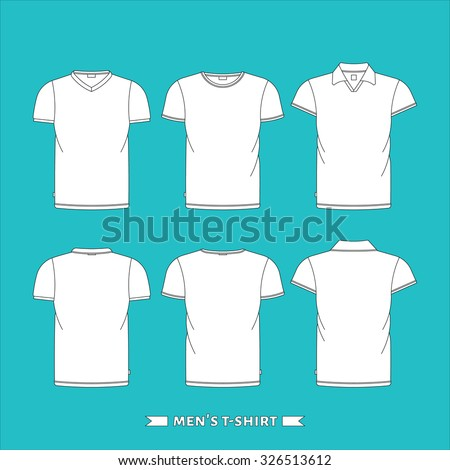 Male vector t-shirts set. Isolated vector t-shirt on white background. Vector types of man clothing. Vector white t-shirt template. Vector shirt, t-shirt and polo. Cloth advertisement, cloth print.