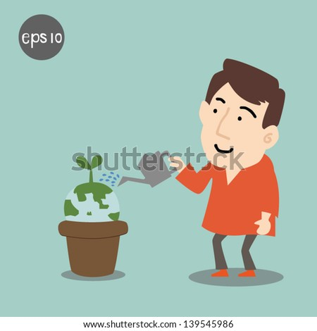male watering  Planet with tree or plant - stock vector