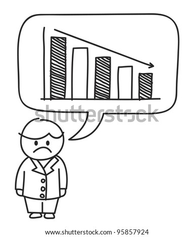 male with loss graph - stock vector