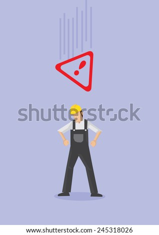 Male worker wearing yellow helmet and overall and falling Alert warning sign above his head. Conceptual vector illustration in cartoon style for work safety isolated on purple plain background. - stock vector