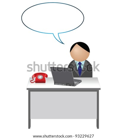 Male worker with blank speech bubble for own text - stock vector