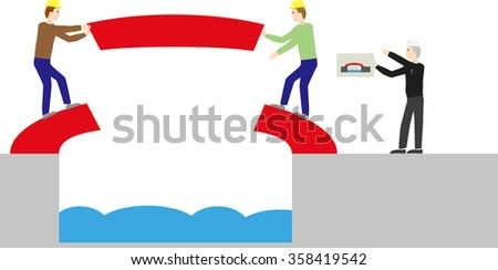 Males build a red bridge over a river finished. Two construction workers and a planner. Symbolic representation of team performance. - stock vector