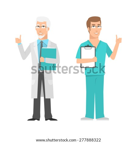 Males scientist and doctor showing thumbs up - stock vector