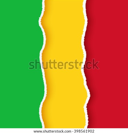 Mali flag, malian torn paper  set with ripped edges and shadows, vector illustration