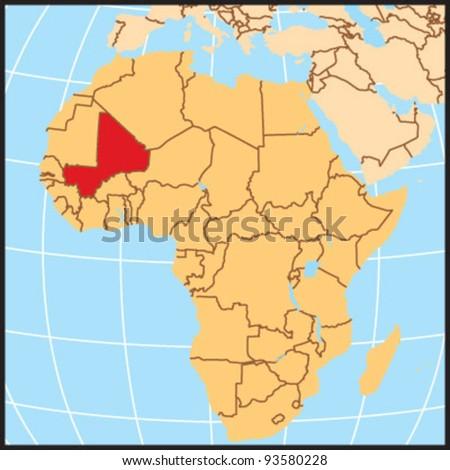 Mali Locate Map Stock Vector Shutterstock - Map of mali
