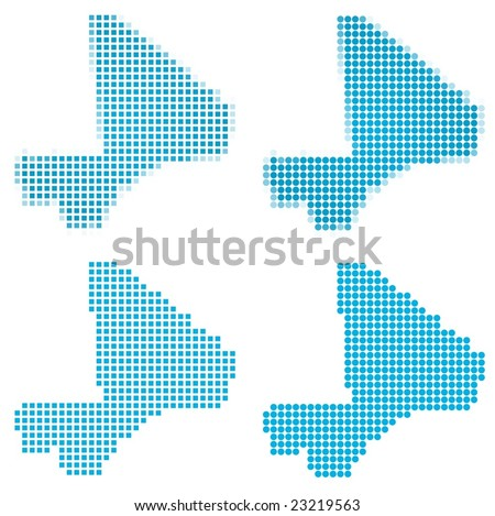 Mali map mosaic set. Isolated on white background. - stock vector
