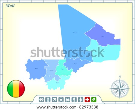 Mali Map with Flag Buttons and Assistance & Activates Icons Original Illustration - stock vector