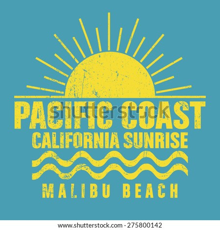 Malibu beach typography, t-shirt graphics, vectors - stock vector