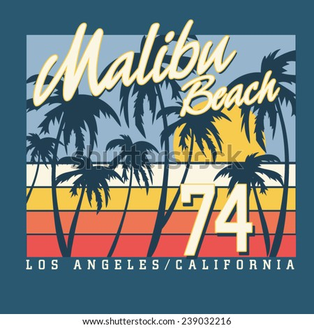 Malibu surf sport typography, t-shirt graphics,  vectors - stock vector