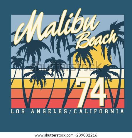 Malibu surf sport typography, t-shirt graphics,  vectors - stock vector