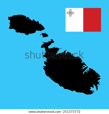 Malta vector map isolated on blue background. High detailed silhouette illustration. Malta flag vector. original and simple Malta flag isolated vector in official colors and Proportion Correctly .  - stock vector