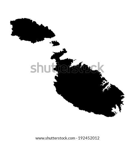 Malta vector map isolated on white background. High detailed silhouette illustration. - stock vector