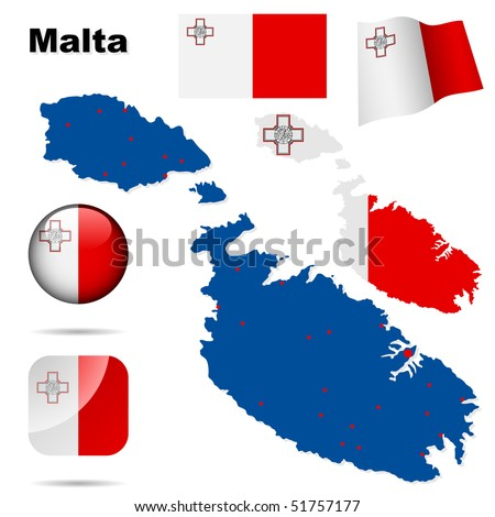 Malta vector set. Detailed country shape with region borders, flags and icons isolated on white background. - stock vector