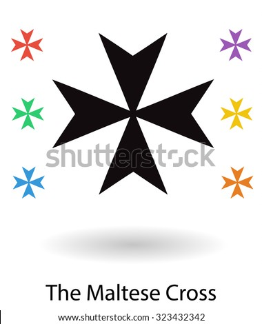 Maltese cross set vector illustration, cross silhouette and 6 colored copies