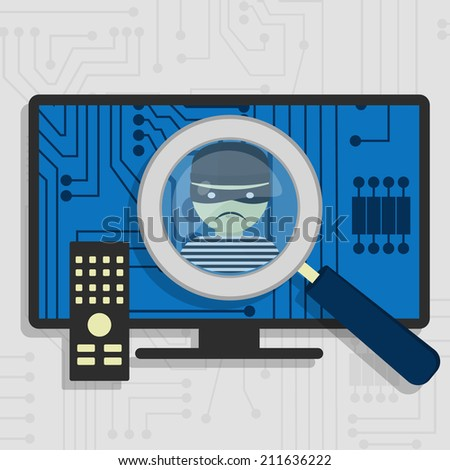 Malware detected on smart tv represented by a magnifying glass focusing on the figure of a thief - stock vector