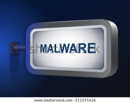 malware word on billboard over blue background - stock vector