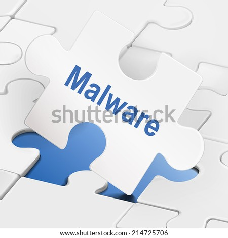 malware word on white puzzle pieces background - stock vector