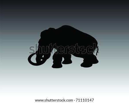 mammoth animal vector silhouette - stock vector