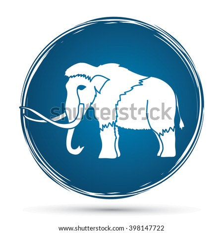 Mammoth designed on grunge circle background graphic vector. - stock vector
