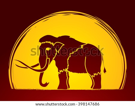 Mammoth designed on moonlight background graphic vector. - stock vector