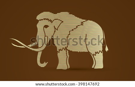 Mammoth designed using line wave graphic vector. - stock vector